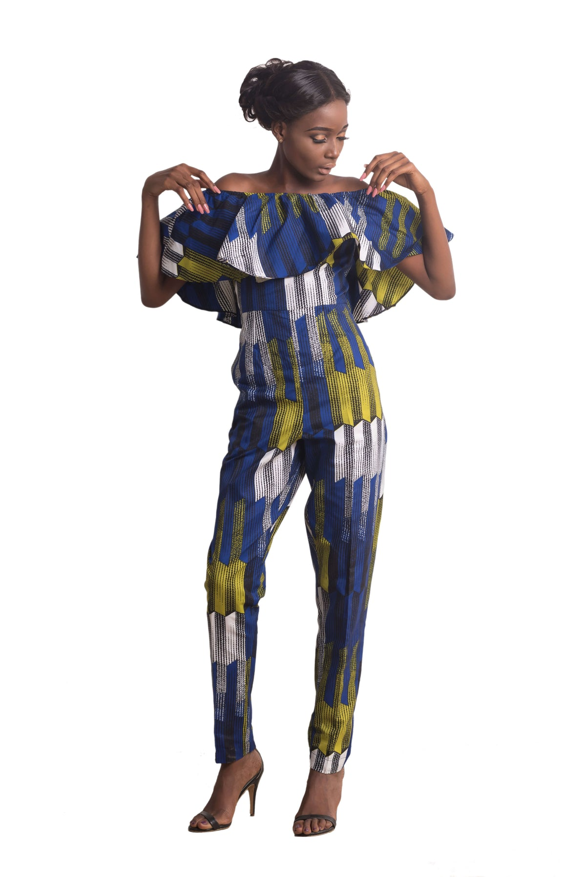 Woman wearing Ankarage African Print Jumpsuit Ankara Lesedi Blue Yellow White Side view