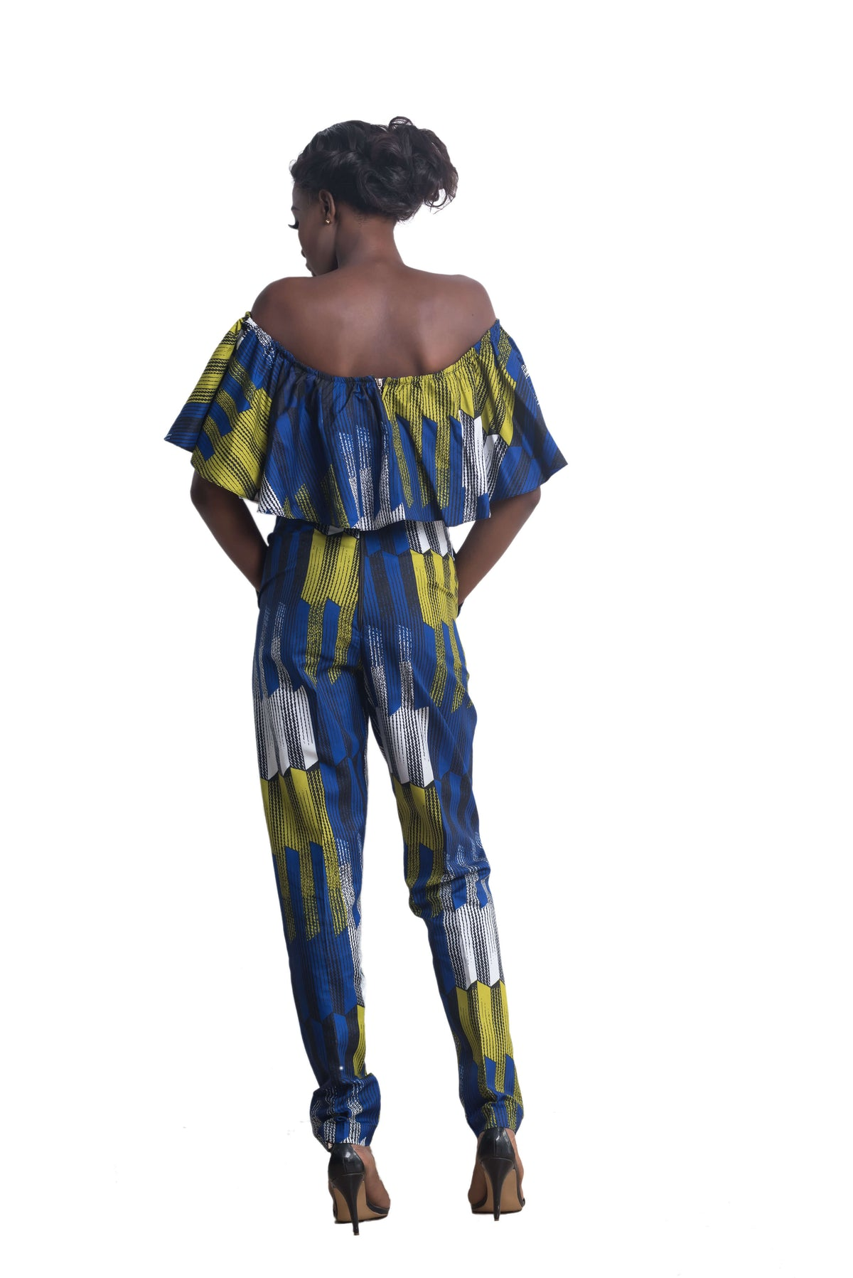 Woman wearing Ankarage African Print Jumpsuit Ankara Lesedi Blue Yellow White Back view