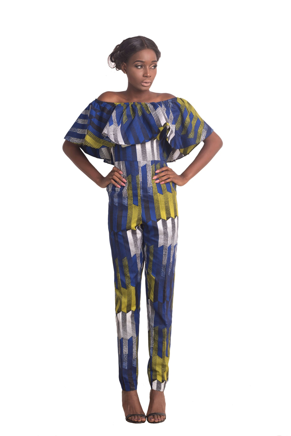 Woman wearing Ankarage African Print Jumpsuit Ankara Lesedi Blue Yellow White Front View