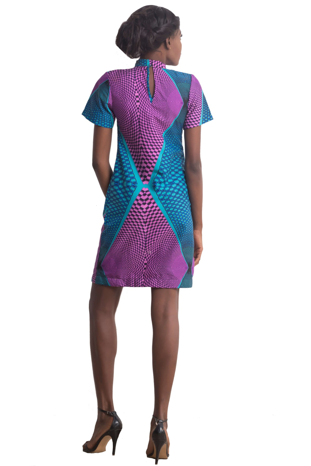 Ankarage Ankara African Print Adaure Purple Blue Choker A Line Shift Dress Women