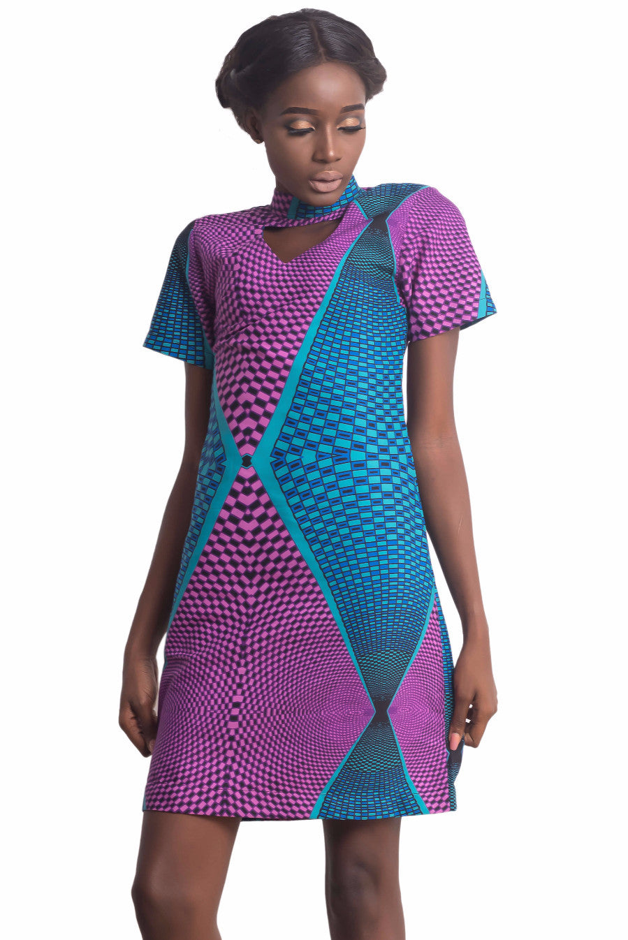 Women wearing Ankarage Ankara African Print Adaure Purple Blue Choker A Line Shift Dress