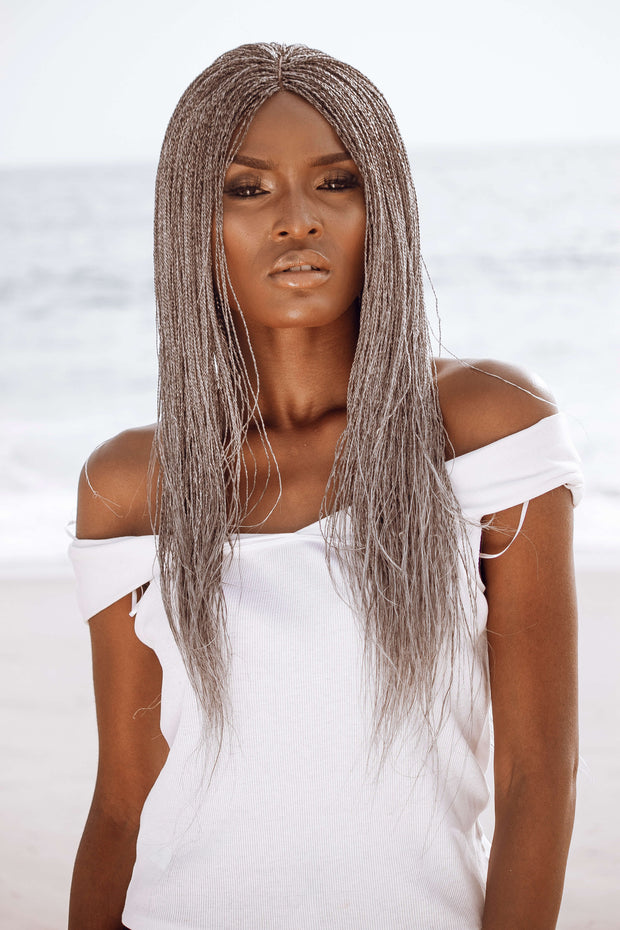 Ankarage Braided Wig for Black Women Micro Million Twist Wig Braids Wig Color 51 Grey 75 Percent Grey Front View