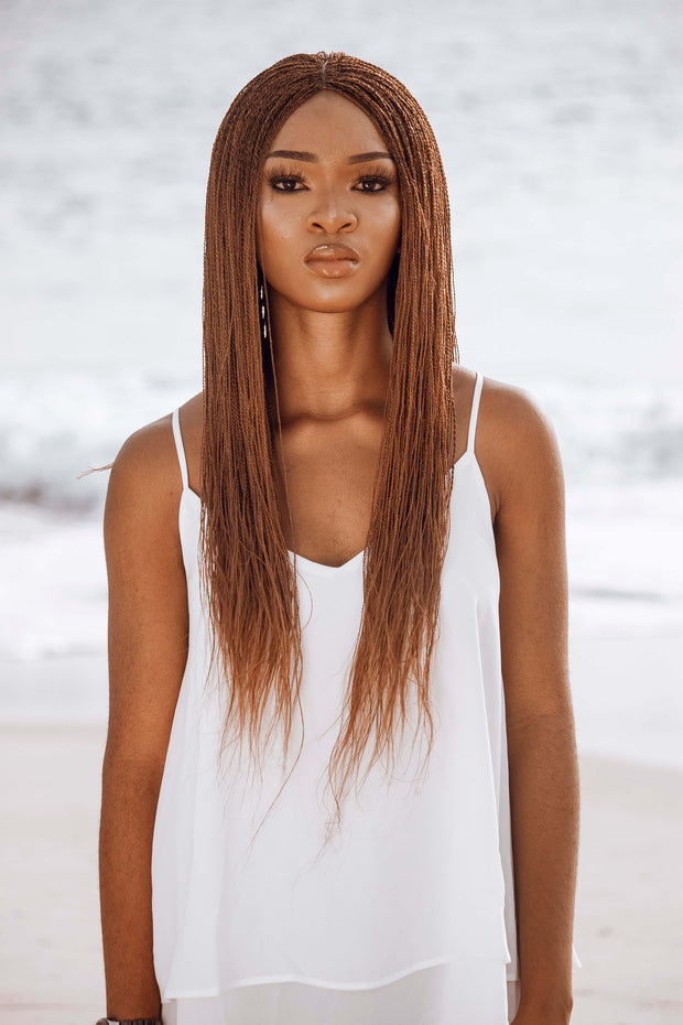 Ankarage Braided Wig for Black Women Micro Million Twist Wig Braids Wig Color 30 Honey Brown Front View