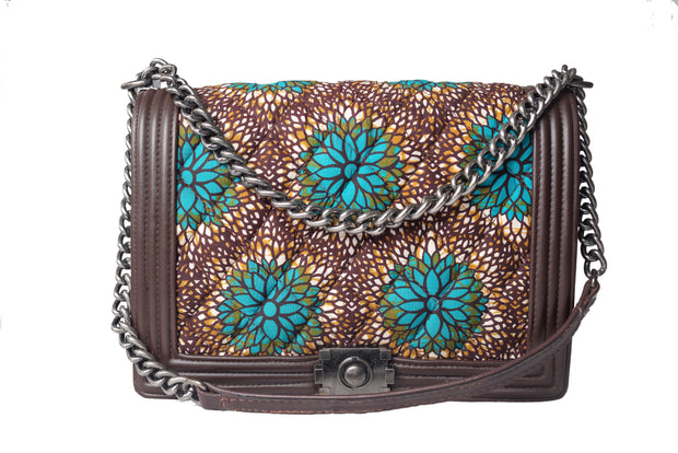 Ankarage Raly Ruby's Ankara and Leather Quilted Flap Bag Front