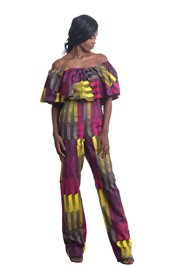 Woman wearing Ankarage African Print Jumpsuit Ankara Lesedi Pink Yellow Purple