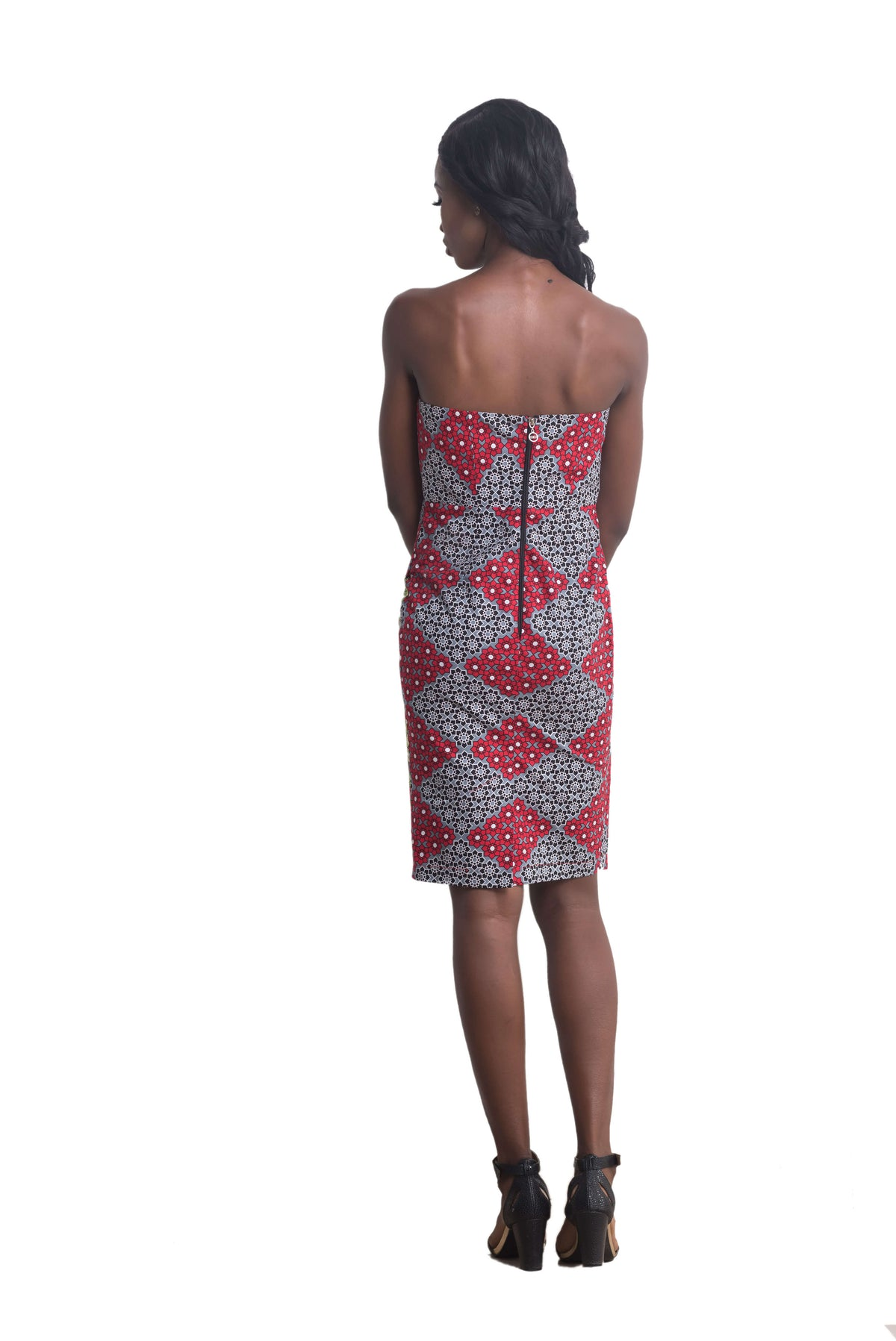 Women wearing Ankarage Women African Print Sisi Eko Faux Wrap Dress (Red on Pink) Ankara Dress Back View