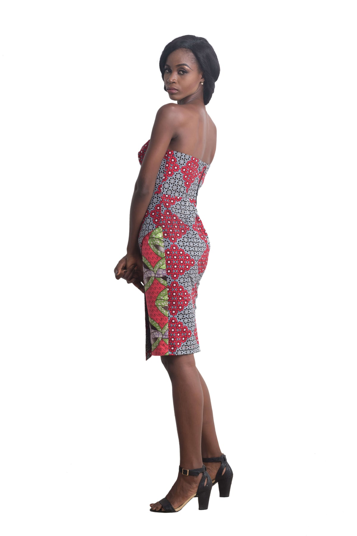 Women wearing Ankarage Women African Print Sisi Eko Faux Wrap Dress (Red on Pink) Ankara Dress Side View