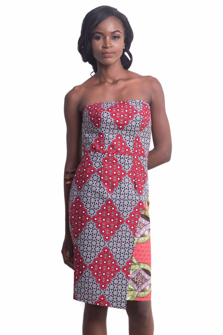 Women wearing Ankarage Women African Print Sisi Eko Faux Wrap Dress (Red on Pink) Ankara Dress Front View