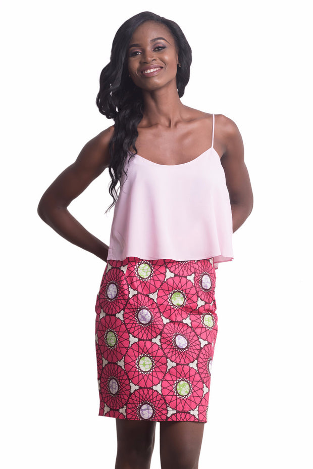 Chinwe Pink Straight Skirt