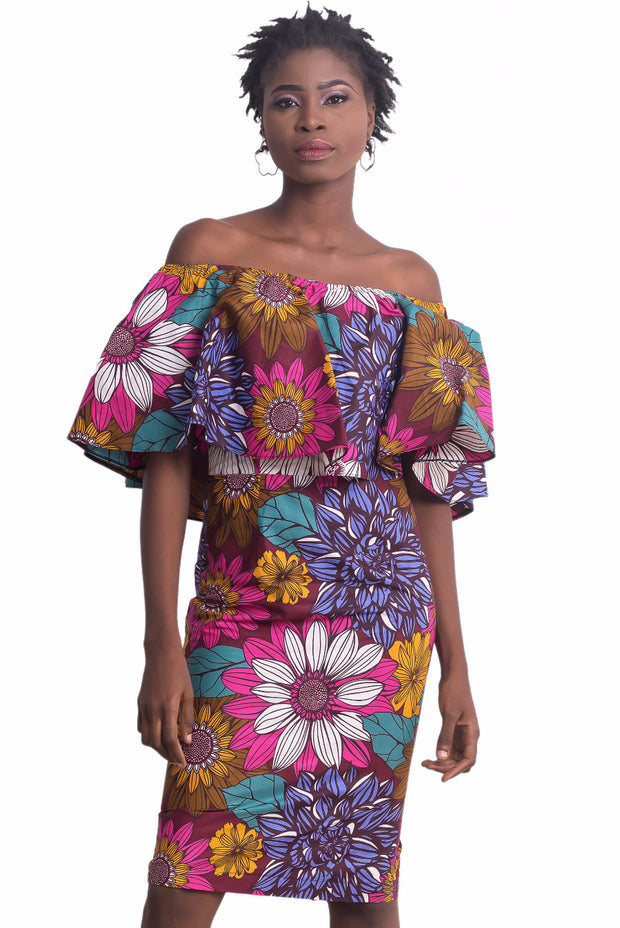 Aishat Off Shoulder Floral Dress