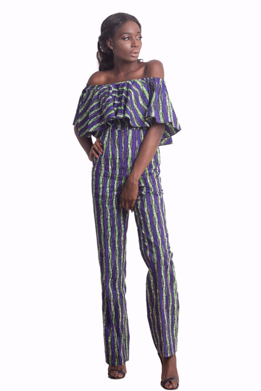 Lesedi Off-Shoulder Jumpsuit (Purple)