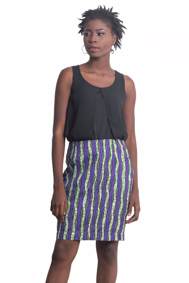 Rukiya Striped Straight Skirt