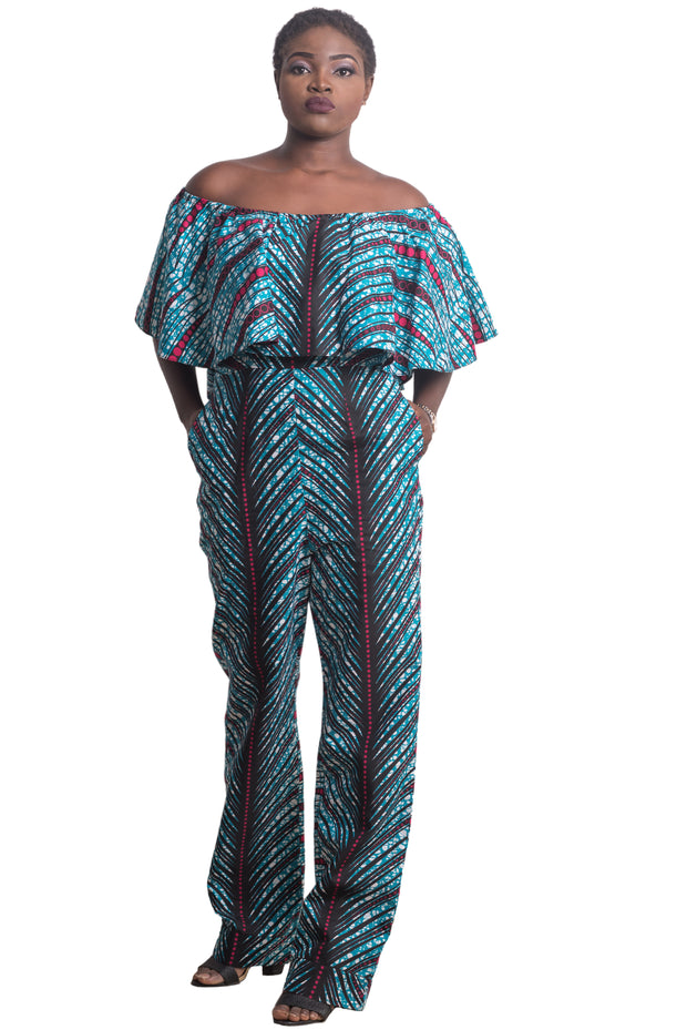 Lesedi Off-Shoulder Jumpsuit (Blue & Pink)