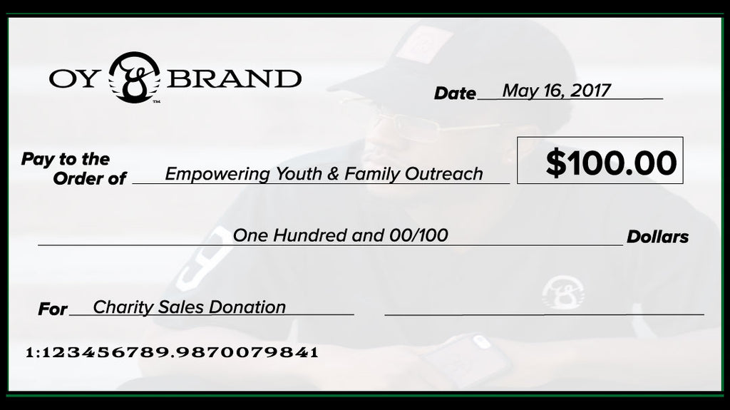 charity check from oy brand to eyfo