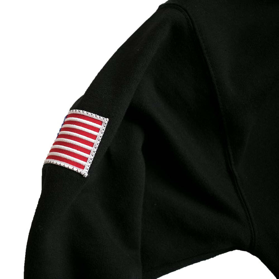 Black Denim Patch Hoodie