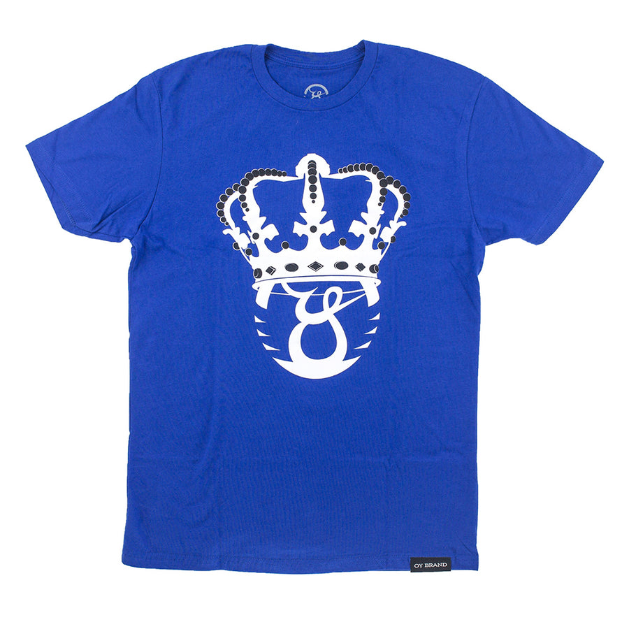 Oy Brand royal blue t-shirt with white crown screen printed graphic