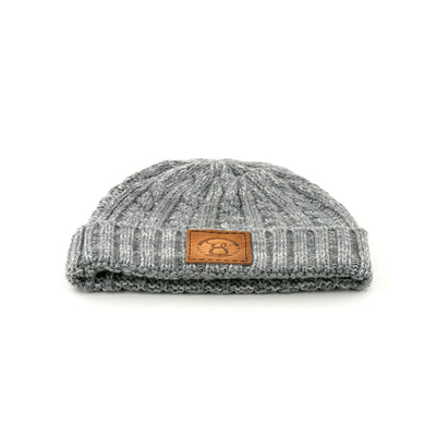 Cable knit leather patch Beanie