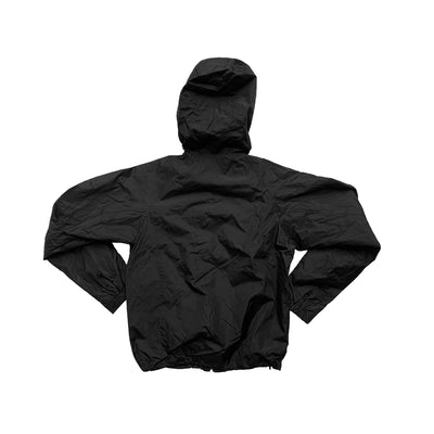 Oy brand, back of black jacket with hood.