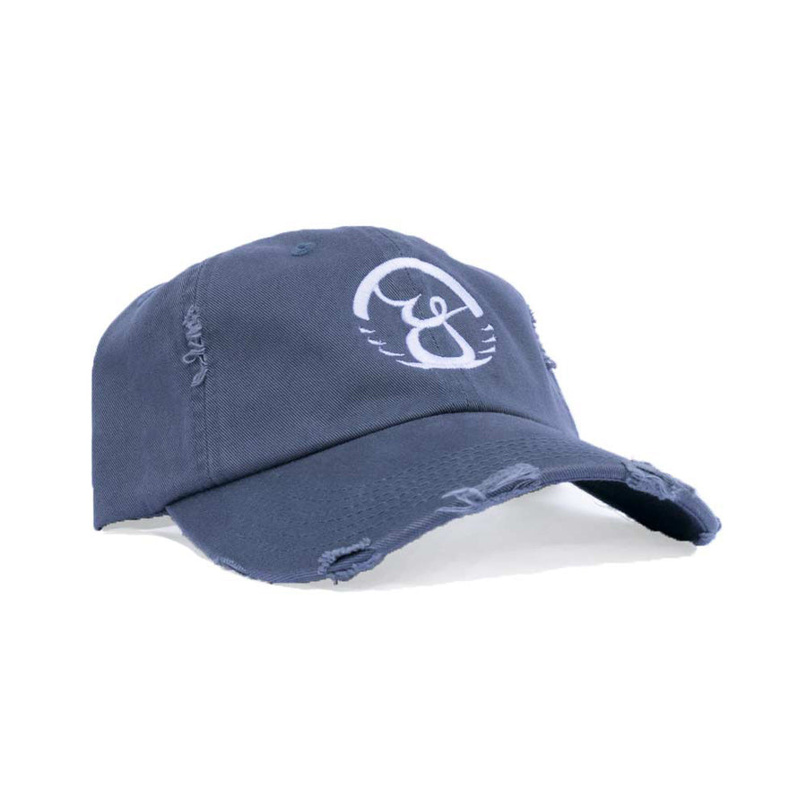 Distressed Dad hat Blue.