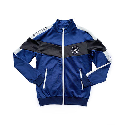 Oy Brand sports life track jacket. Blue, white, and black.