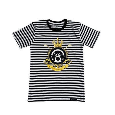 Oy brand black t-shirt stripes with gold flourish.