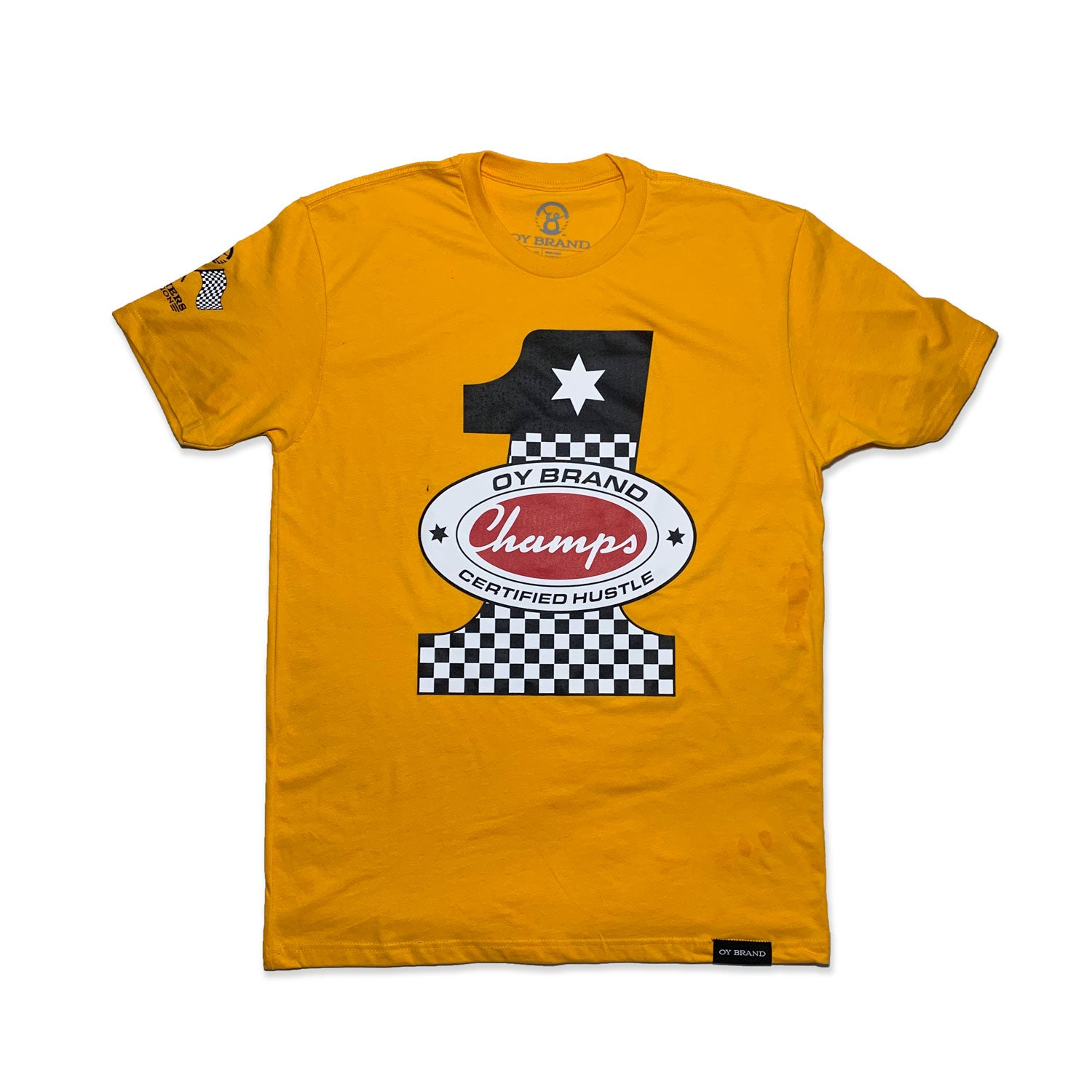 gold oy brand t shirt with number one racing design