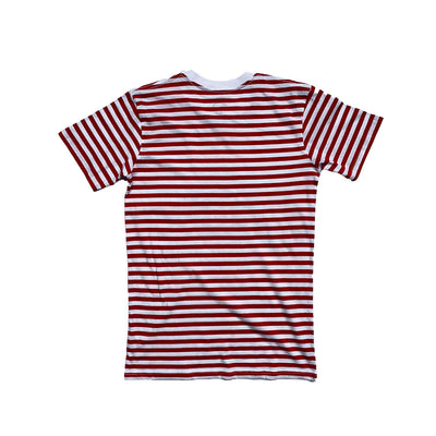 Oy brand red strip tee back.