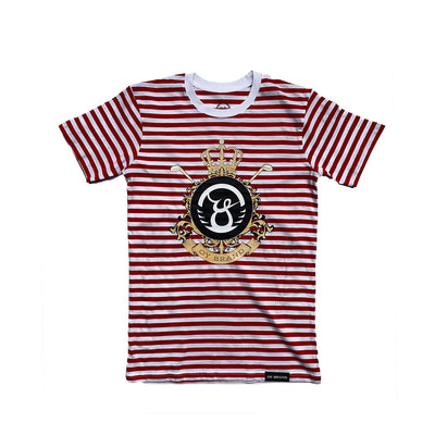 Oy brand red strip tee with flourish