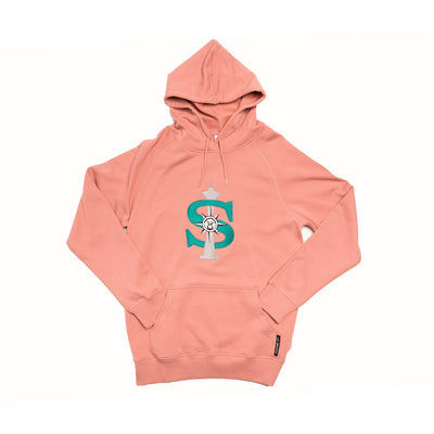 Rose pink hoodie with dollar space needle design.