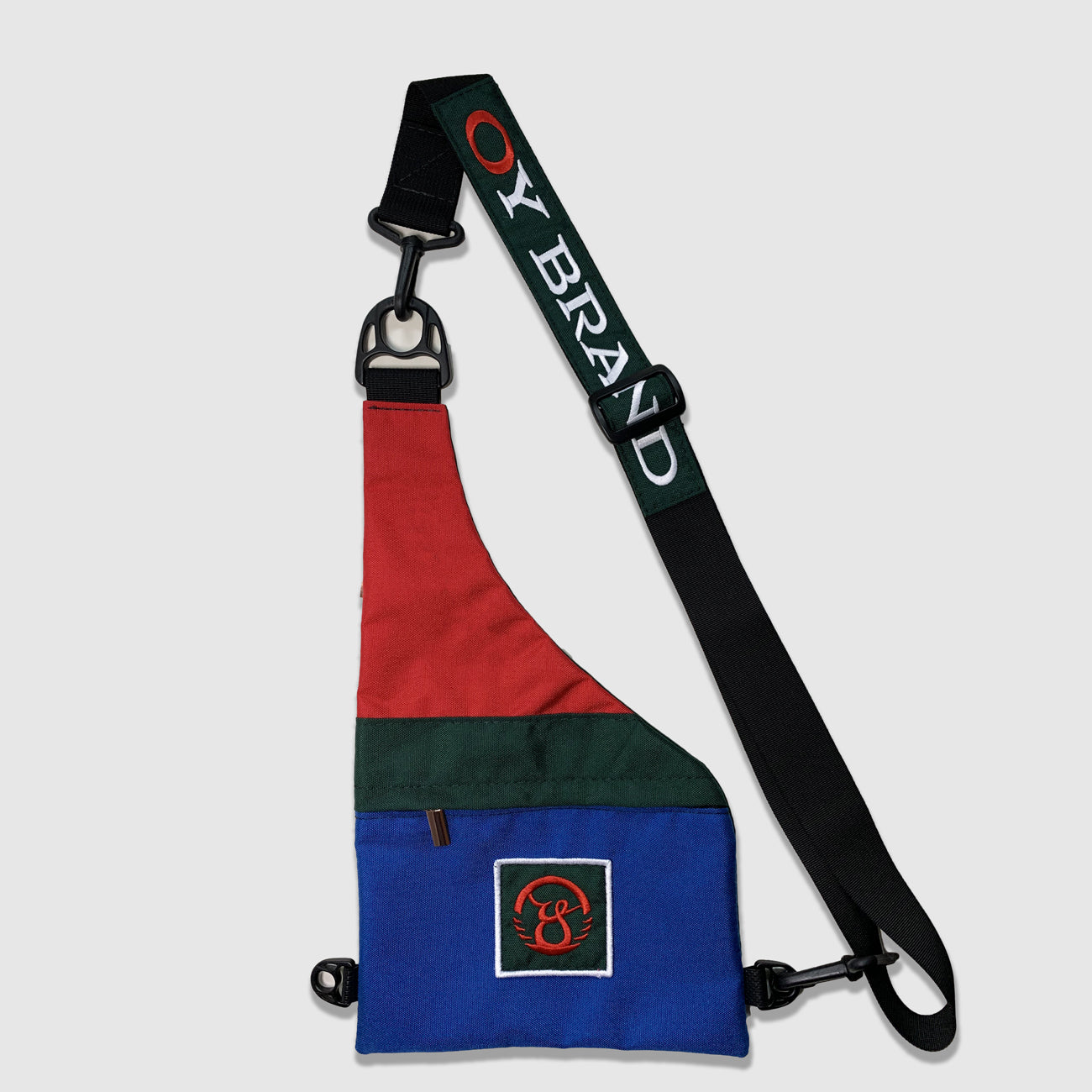 Oy brand multi colored cross body bag