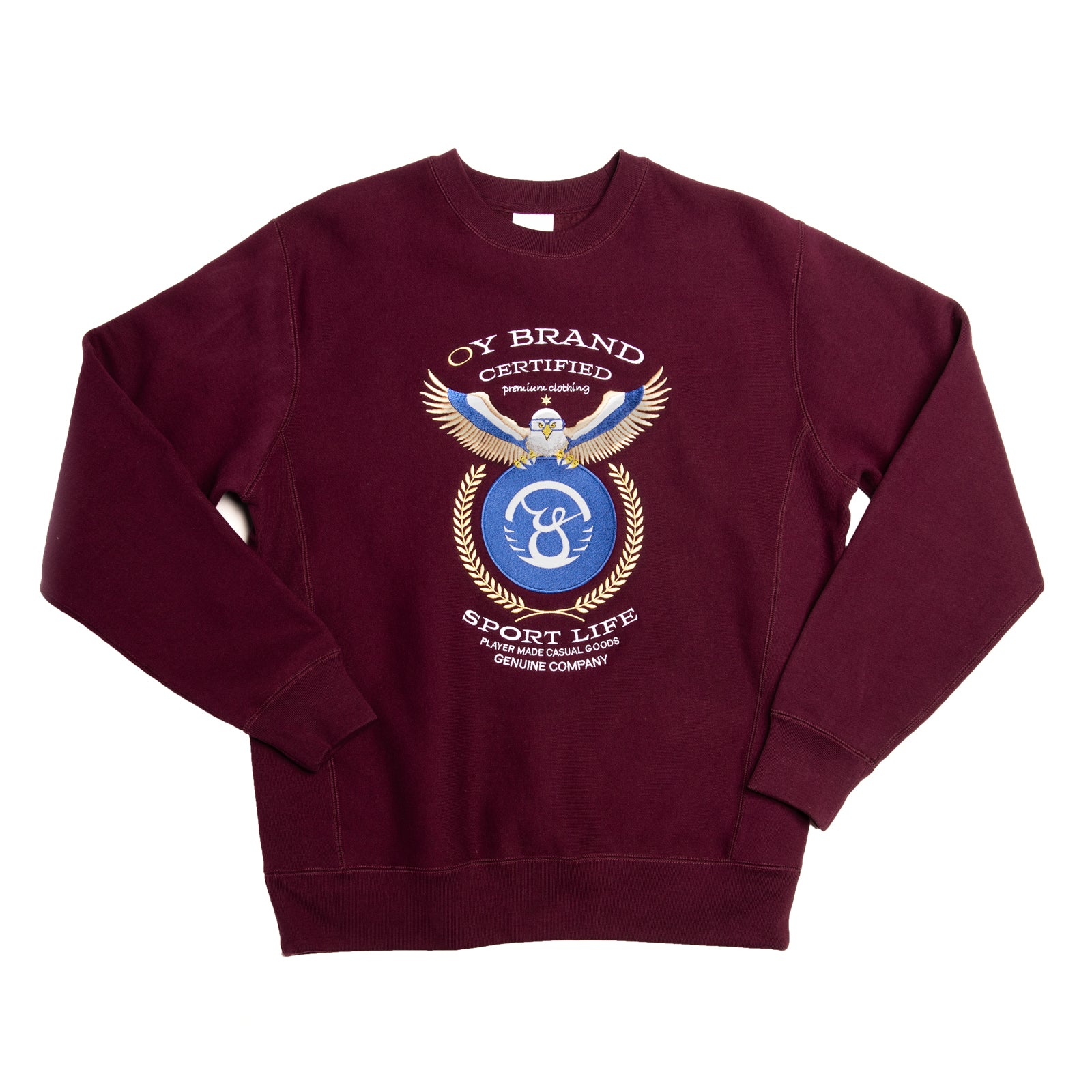 heavyweight crewneck sweater with large eagle design