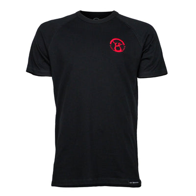 black oybrand tee with red logo