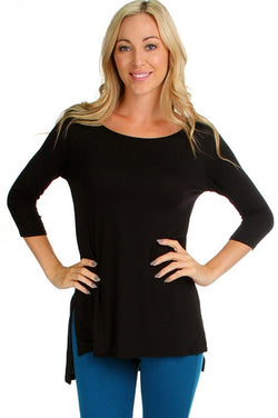 Black 3/4 Sleeve Hi Lo Top