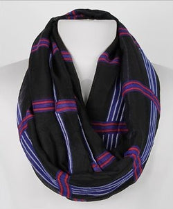 Dark Blue Large Plaid Summer Infinity Scarf