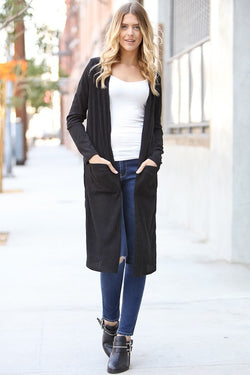 Long Sleeve Black Ribbed Duster