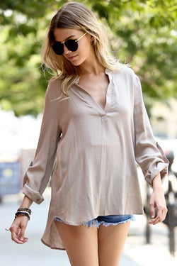 Flowy Taupe Blouse