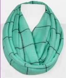 Mint Plaid Summer Infinity Scarf