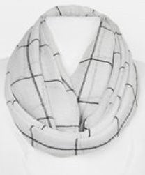 White Plaid Summer Infinity Scarf