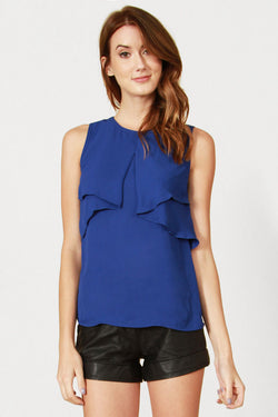 Blue Ruffle Short Sleeve Blouse