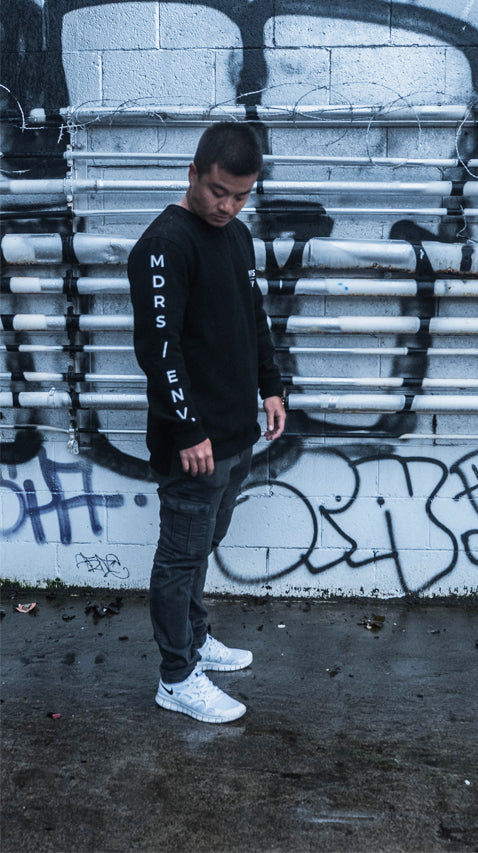 DISTORTED HEAVY CREW JUMPER BLACK