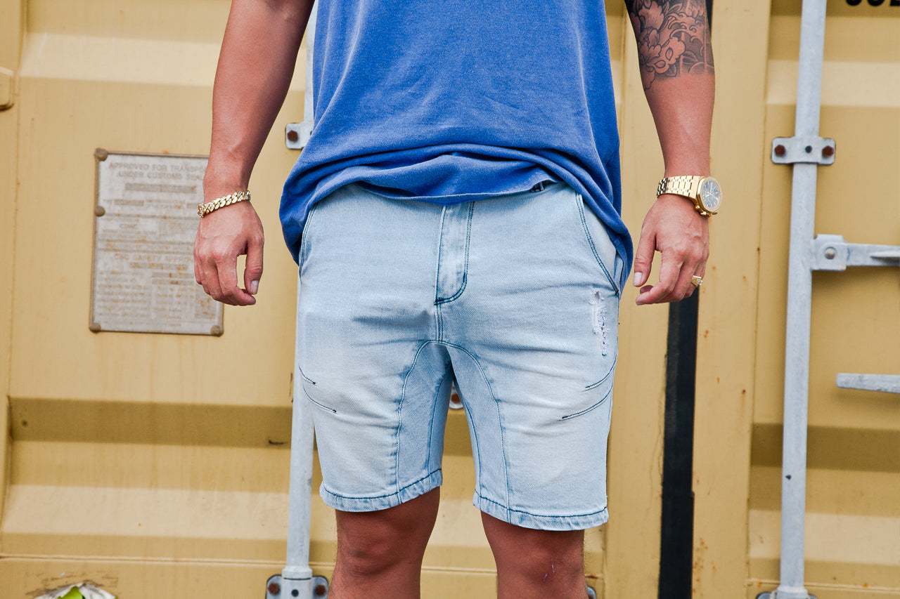 MSEY DENIM SHORTS LIGHT BLUE
