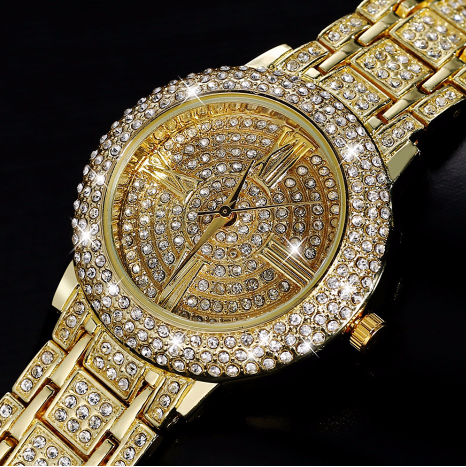 Luxury Watches Rhinestone Crystal Wristwatch Lady Dress Watch Gold Plated Women Diamond Watches Relogio