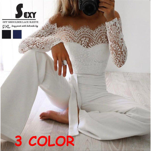 2018 Women Playsuit Party Jumpsuit Romper Long Trousers Pants Clubwear Lace Sleeve Jumpsuit