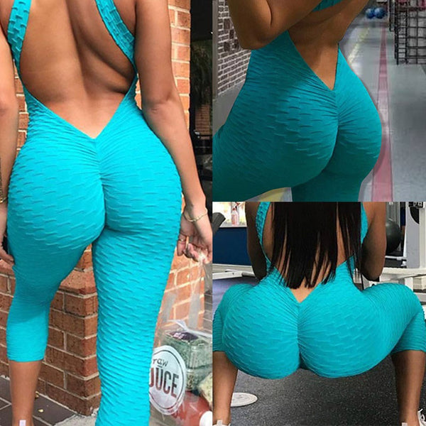 Women Sexy Sport Gym Yoga Running Fitness Jumpsuit Bodysuit Pant Leggings Backless Solid Color Athletic Romper Jumpsuits