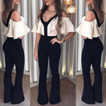 Women Hot Sell New Fashion Jumpsuits Casual V Neck Off Shoulder Short Sleeve Slim Fit Jumpsuits For Women Patchwork Jumpsuits