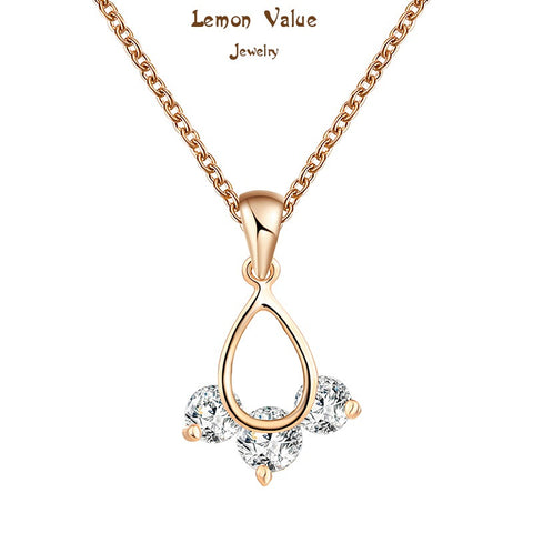 Lemon Value New Charms 18K Gold Plated Water Drop Pendant Necklaces With Crystal AAA Zircon Women Jewelry Female Gift P059 - On Trends Avenue
