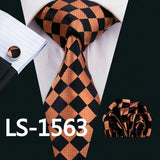 LS-822 Mens Tie Black Paisley 100% Silk Classic Barry.Wang Tie Hanky Cufflinks Set For Men Formal Wedding Party Groom Hot Sell - On Trends Avenue