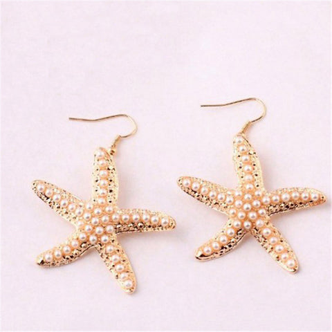 Lemon Value New Design Vintage Bijoux Fashion Charms Pearl Starfish Stud Earrings Women Jewelry Female Gift Brincos B199 - On Trends Avenue