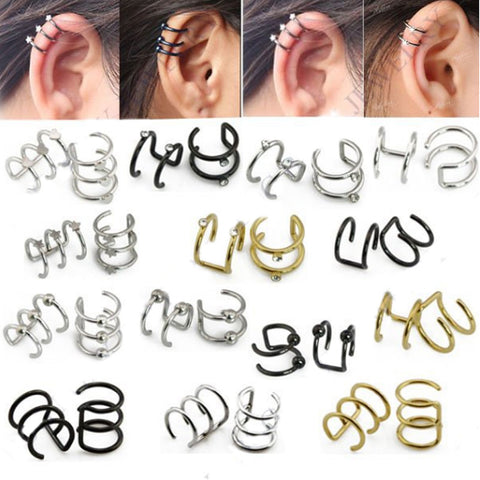 Illusion Captive Bead Rings, Fake Cartilage Clip-On Ring ,Helix Earrings, Non Pierced Clip On Closure Ring Sold as pair - On Trends Avenue