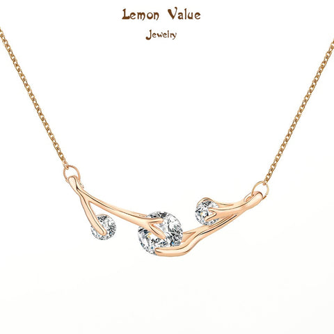 Lemon Value New Design Luxury Austria Crystal Leaf Pendant Necklaces With AAA Zircon Women Jewelry Female Bijoux P053 - On Trends Avenue